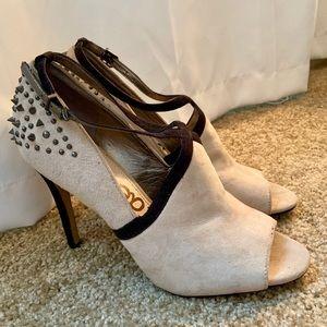 Sam Edelman black spike cream stiletto heels